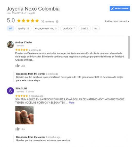 joyería nexo testimonios en google